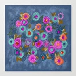 Rose garden roses cottage blue pink orange Canvas Print