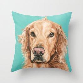 Handsome Golden Retriever Painting, Golden Retriever Portrait, Stately Golden Retriever Dog Art Throw Pillow