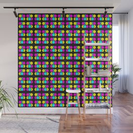 Phillip Gallant Media Design - Light Blue, Pink, And Yellow Design On Black Wall Mural