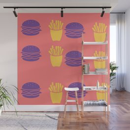 Burger and Fries in Colorful Colors Wall Mural