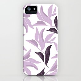 Abstract modern pastel lavender white leaves floral iPhone Case