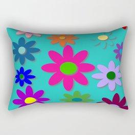 Flower Power - Teal Background - Fun Flowers - 60's Style - Hippie Syle Rectangular Pillow