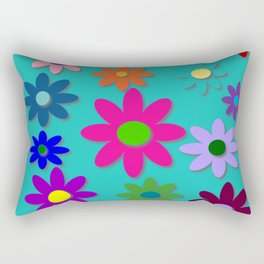 Flower Power - Teal Background - Fun Flowers - 60's Style - Hippie Syle Rectangular Pillow