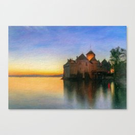 Chillon Sunset in Oil Canvas Print