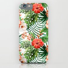 Hibiscus and Palm Leaf Pattern iPhone 6s Slim Case