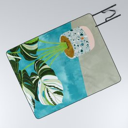 Variegated Monstera #tropical #painting #nature Picnic Blanket