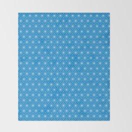 Blue Japanese Hemp Kimono Pattern Throw Blanket