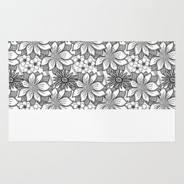 Black and White Floral Drawing Rug