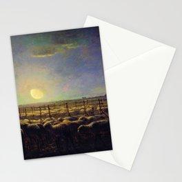 12,000pixel-500dpi - Jean-Francois Millet - The Sheepfold, Moonlight - Digital Remastered Edition Stationery Cards