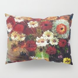 Red Poppies, Dahlias, Daises, Begonia, Parrot Tulips in Vase Tuscany Still Life by Vincent van Gogh Pillow Sham