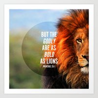 pocketfuel Art Prints featuring BOLD AS LIONS by Pocket Fuel