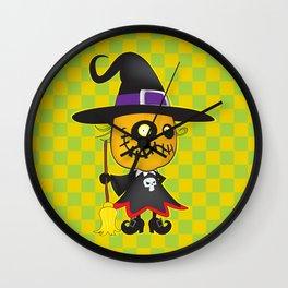 Halloween pumpkin witch Wall Clock