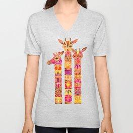 Giraffes – Fiery Palette Unisex V-Neck