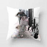 oil Throw Pillows featuring OIL by CITYABYSS