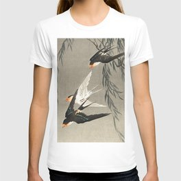 Red tailed swallows in flight - Japanese vintage woodblock print art T-shirt