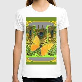 GREEN ART NOUVEAU BUTTERFLY PEACOCK PATTERNS T-shirt