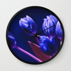 Blue Poetry of Tulips Wall Clock