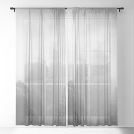 Harmony - Misty Mountain Forest Nature Photography Sheer Curtain