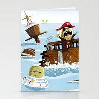 pirates Stationery Cards featuring Pirates by modernagestudio