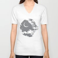 death star V-neck T-shirts featuring Death Star by Krakenspirit