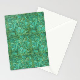 Triangular Structures Turquoise Geometric Facets with Gold Lines Stationery Cards