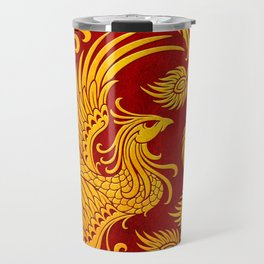 Traditional Yellow and Red Chinese Phoenix Circle Travel Mug