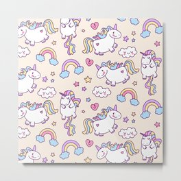 Cute unicorn pattern with heart and rainbow. Magic and fairy tale collection. Metal Print