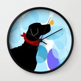 Black Labrador Retreiver Dog Print Wall Clock