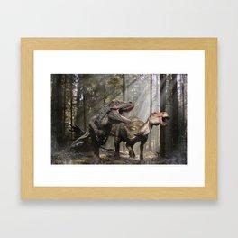 Tyrannosaurus hunting edmontosaurus Framed Art Print