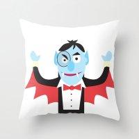 dracula Throw Pillows featuring Dracula by Joe Pugilist Design