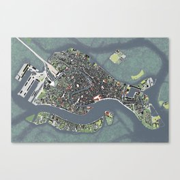 Venice city map engraving Canvas Print