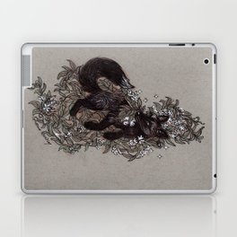 Black Fox and Star Flower Jasmine Tangle Laptop & iPad Skin