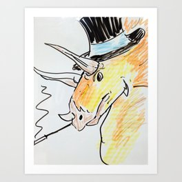 Triceratops in a top hat Art Print
