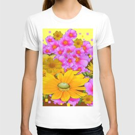 MODERN RAZZLE-DAZZLE PINK-YELLOW FLORALS T-shirt