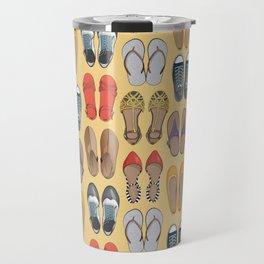 Hard choice // shoes on yellow background Travel Mug