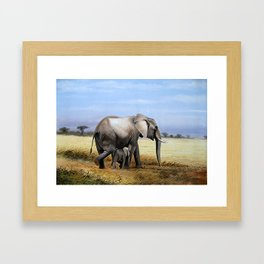 A Painting of an Elephant Mother and Child Framed Art Print