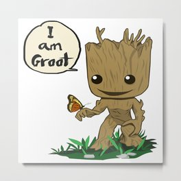 i am groots with butterfly Metal Print