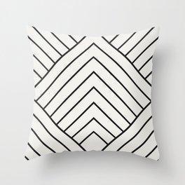 Diamond Series Pyramid Charcoal on White Throw Pillow