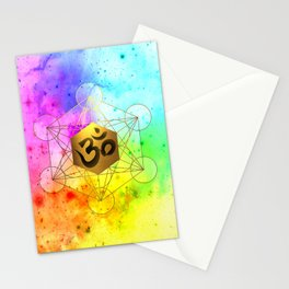 Sacred Geometry Metatron's Cube Om Chant Stationery Cards