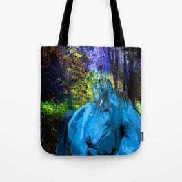 FANTASY HORSE BLUE I MET IN THE FOREST Tote Bag