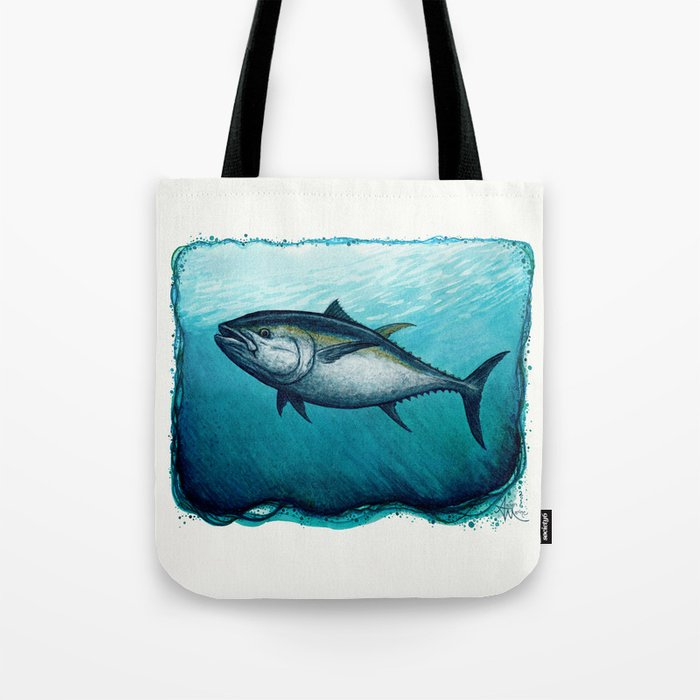 Bluefin Tuna ~ Watercolor Painting by Amber Marine,(Copyright 2016) Tote Bag