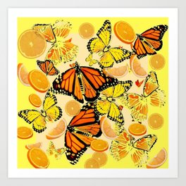 YELLOW MONARCH BUTTERFLY  & ORANGES MARMALADE Art Print