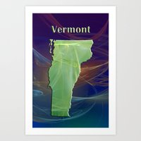 vermont Art Prints featuring Vermont Map by Roger Wedegis