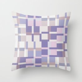 Geometric Color Block Pattern - Purple and Latte Throw Pillow