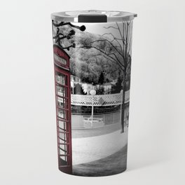 old English phone booth in colorkey Travel Mug