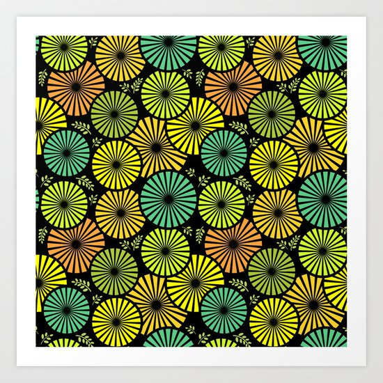 Retro flowers and leaves Art Print