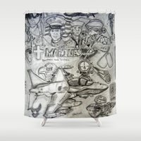 military Shower Curtains featuring Military by Amanda McCrory