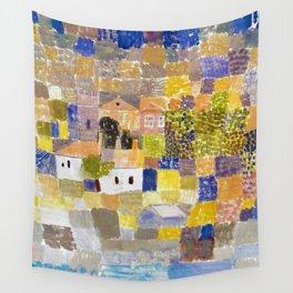 Sicilian Mediterranean Seaside Modern Landscape by Paul Klee Wall Tapestry