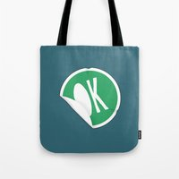 sticker Tote Bags featuring OK Sticker by Chad De Gris