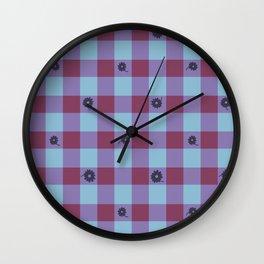 Gingham flower mix Wall Clock